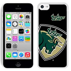 Fashionable And Unique Designed With NCAA American Athletic Conference AAC Football South Florida Bulls 7 Protective Cell Phone Hardshell Cover Case For iPhone 5C Phone Case White
