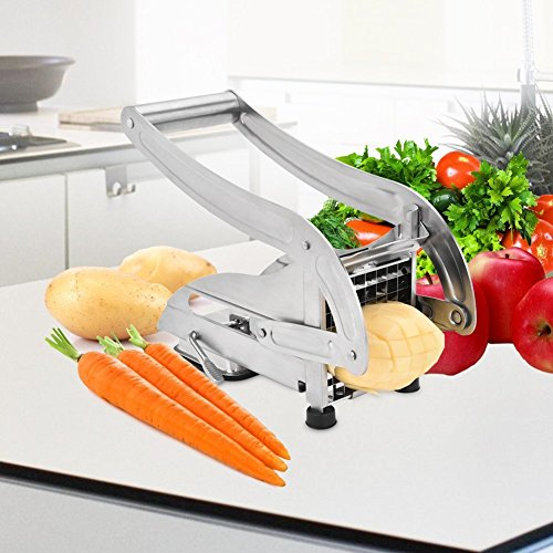 French Fry Cutter, Stainless Steel French Fries Potato Cutter with 2 Interchangeable Blades by zoel