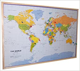 World pinboard map wood framed plus flag pins amazon flip to back flip to front sciox Images