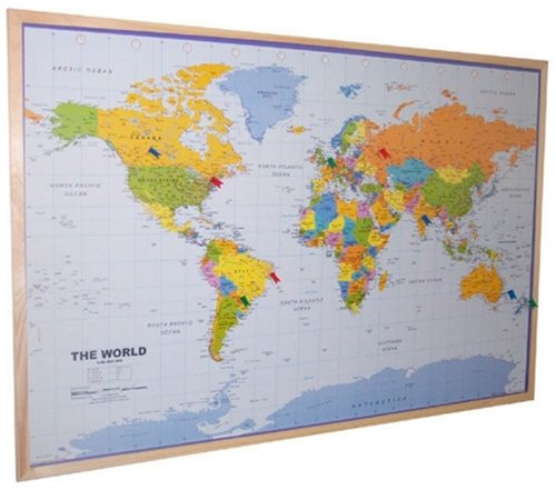 World Pinboard Map Wood Framed plus flag pins Amazon
