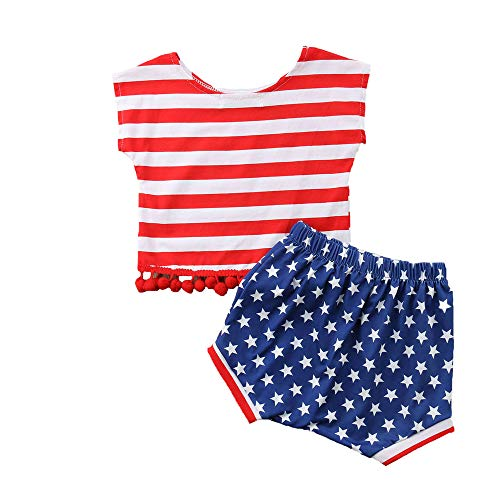 Toddler Baby Girl Boys 4th of July US Outfits Flag Top + Short Sets Patriotic Clothes Outfits (4-5 Years, Red Striped us Flag top+Short Sets) from YOUNGER TREE