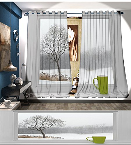 LedfordDecor Winter Blackout Window Curtain Green Teacup on a Windowsill Forest Outdoors February Snowstorm Scenic Countryside Customized Curtains