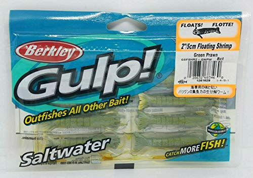 Gulp! Floating Shrimp Saltwater Fishing Bait, 2-Inch, Green ()