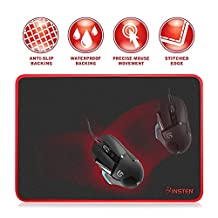 Insten Large-Size Gaming Mouse Pad with Special-Textured Surface, Silky Smooth, Non-Slip Backing, Waterproof Surface & Stitched Edges - 13.8 X 10.2 inches , Black/Red