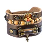 Jesus Christ Bracelet with Olive Wood Beads, Jordan River Holy Water and Jerusalem Earth (Men size: 7.5 - 8.5 Inches)