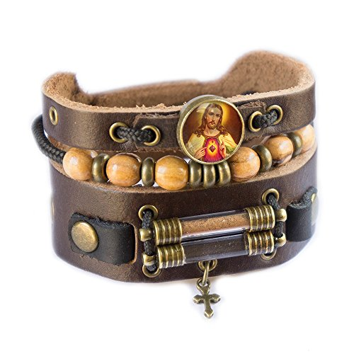 Jesus Christ Bracelet with Olive Wood Beads, Jordan River Holy Water and Jerusalem Earth (Men size: 7.5 - 8.5 Inches) by Rani Shoket