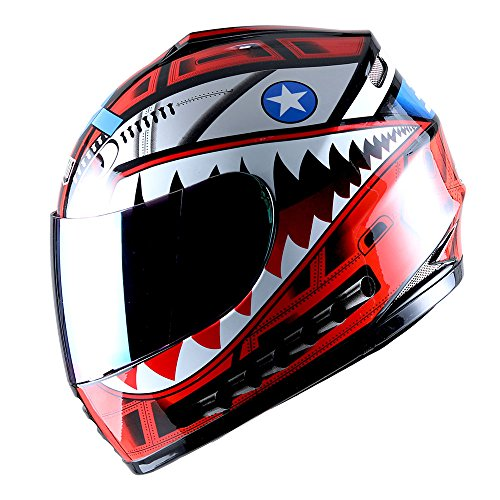 WOW Motorcycle Full Face Helmet Street Bike BMX MX Youth Kids Shark Red