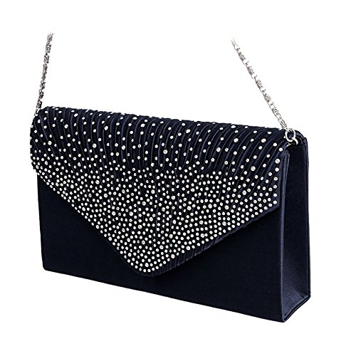 everso Clutch Bridal Handbag Evening Dark Wedding Envelope Satin Diamante Blue Bag Womens Bag Ladies rAfIZwxqrT
