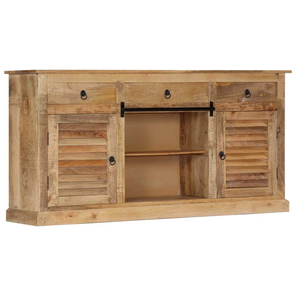 Festnight Beistellschrank Seitenschrank Nachtkommode mit 3 Schubladen, 2 Offenen Fächern und 2 Türen Wohnzimmer, Schlafzimmer, Flur 160×38×80 cm Massivholz Mango