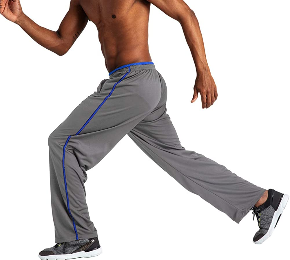 Wohthops Mens Casual Sweatpants Elastic Waist for Workout and Training Relaxed Fit with Zipper Pockets