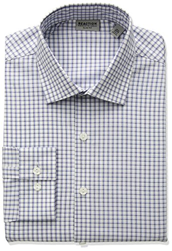 Kenneth Cole REACTION Men's Technicole Slim Fit Stretch Windowpane Check Dress Shirt, Danish Blue, 17