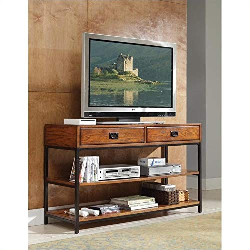 Modern Craftsman Distressed Oak Media Console by Home Styles by Home Styles