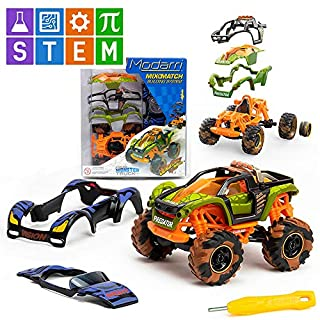 Modarri Turbo Line Jurassic Beasts Monster Truck | Build Your Car Kit Toy Set - Ultimate Toy Car: Make Your Own Car Toy - for Thousands of Designs - Educational Take Apart Toy Vehicle