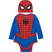 Marvel Spiderman Baby Boys' Costume Long Sleeve Bodysuit and Cap Set Blue, 0-3 Months