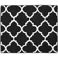 Sweet Jojo Designs Red, Black and White Trellis Print Lattice Accent Floor Rug