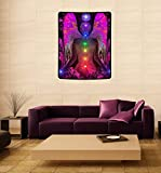 Large Art Chakra Angel Healing 40'' x 50'' Fleece Tapestry 'Balance Within Chaos''
