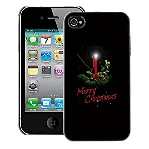 A-type Arte & diseño plástico duro Fundas Cover Cubre Hard Case Cover para iPhone 4 / 4S (Christmas Winter Holidays Black Candle)