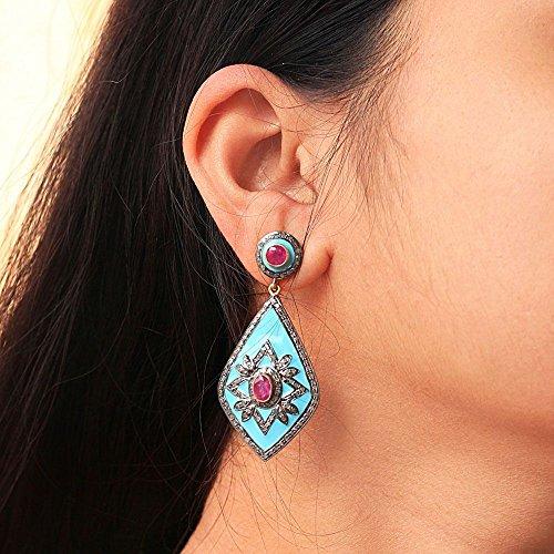 (Genuine Ruby Gemstone Pave Diamond Dangle Earrings 925 Sterling Silver Handmade Estate Look Enamel Jewelry)