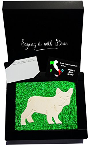Bulldog - Valentine's Day gifts boyfriend girlfriend husband wife - Handmade in Italy - Elegant gift box with blank message card - Rare Italian stone contains fossil fragments - birthday anniversary