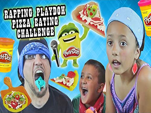 Blindfold Pizza Playdoh Challenge With Rapping And Eating! It Taste So Like Totally Yucky.