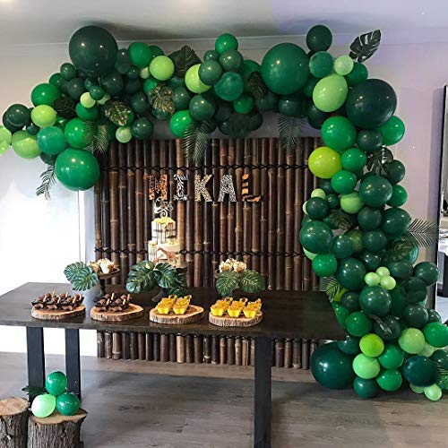 Jungle Theme Party Supplies :Green Balloon Garland Arch Kit Baby Shower Safari Party Decorations with 23 Green Palm Leaves for Birthdays