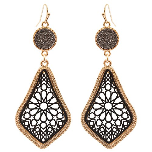 Rosemarie Collections Women's Druzy Stone and Moroccan Filigree Dangle Earrings (Gold Tone and Black)