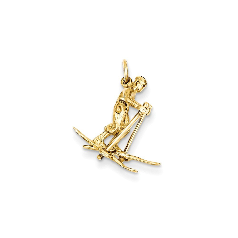 14k Yellow Gold Solid Polished Moveable Snow Skier Charm Measures 21.1x15.9mm