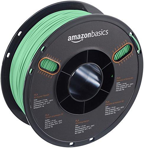 AmazonBasics PLA 3D Printer Filament, 1.75mm, Translucent Green, 1 kg Spool