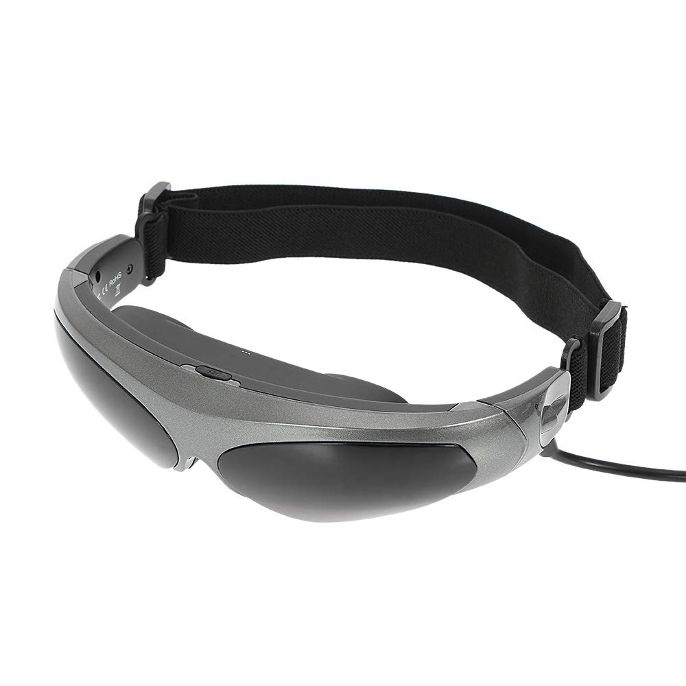 HM2 Headset Glasses Head-Mounted Display FPV Glasses 80 Inches Virtual Wide Screen Smart Video Glasses AV Input Glasses - Gray + Black
