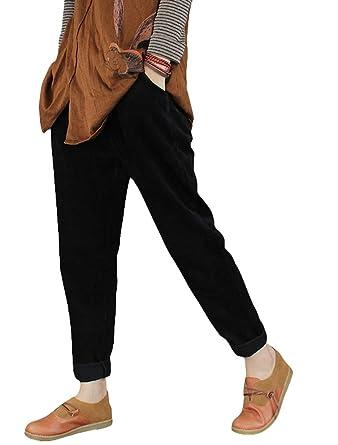 46b27431bdc08 Minibee Women s Casual Corduroy Pants Comfy Pull on Elastic Waist Trousers  Drawstring Cotton Pants Black S