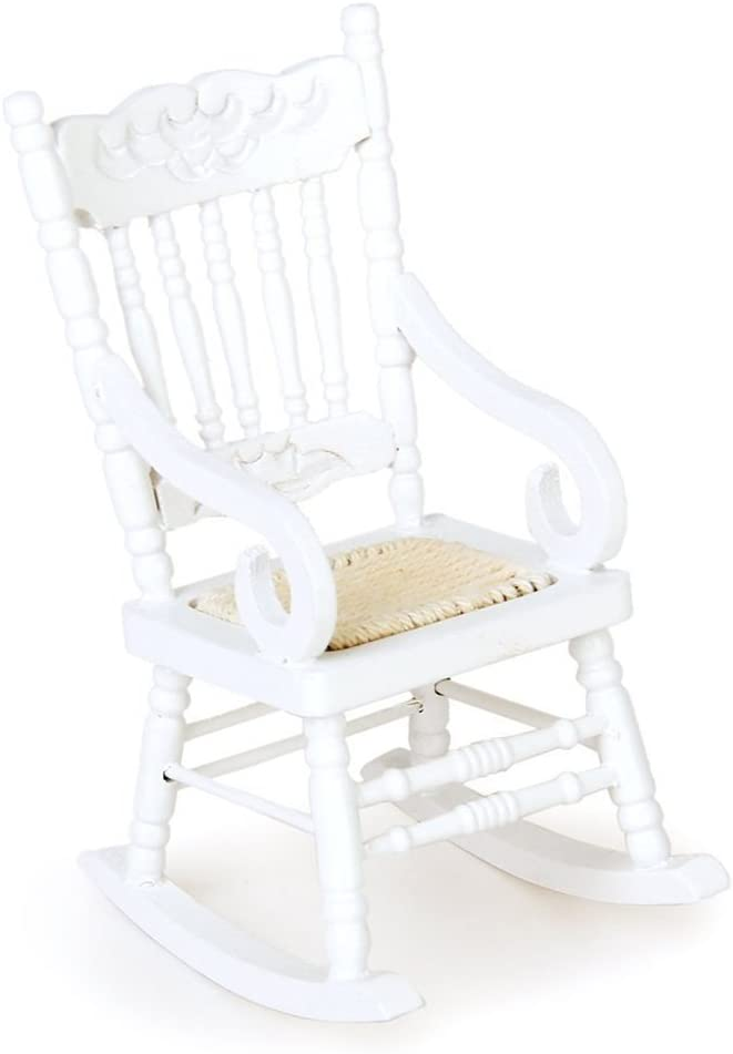 TOYANDONA 1/12 Miniature Dollhouse Furniture for Doll Living Room Decoration Miniature Wooden Rocking Chair Model (White)