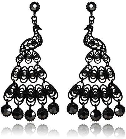 SHANGZHIQIN Pendientes Largos Diamantes Negros completos, Pendientes de Estilo Retro, Pendientes Grandes de Discoteca Negros