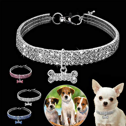 Legendog Cat Collar Glitter Rhinestone Bone Charm Elastic Pet Collar Dog Collar Decoration