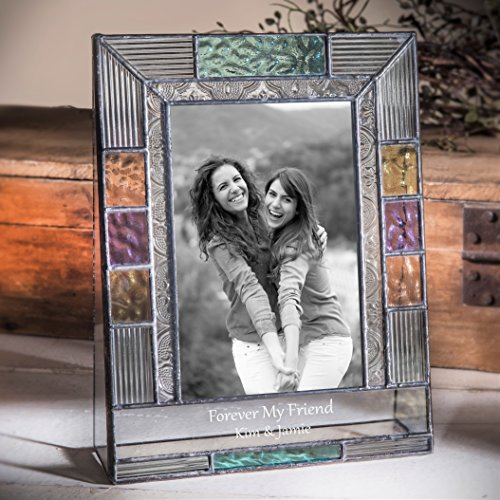 J Devlin Pic 391-46V EP587 Friends Personalized Glass Picture Frame 4x6 Vertical Photo Blue Purple Green
