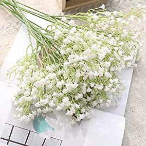 JUSTOYOU 10pcs Artificial Babies Breath Flowers Fake Gypsophila PU Silica for Wedding Bridal Bouquet Home Floral Arrangement White (White 21.7 in) 5