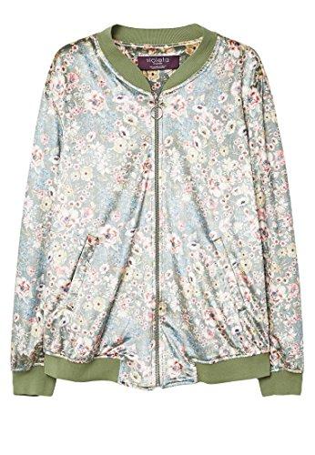 Violeta by MANGO Women's Plus Size Floral Print Velvet Bomber, Khaki, S by Violeta by MANGO