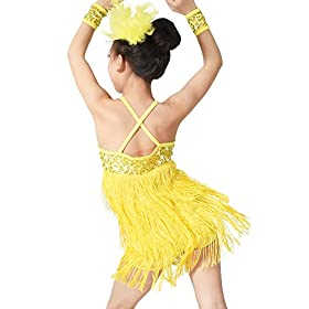 - 51SKCEwvUdL - MiDee Latin Dress Dance Costume 3 Colors Camisole Sequins Tassels Skirt for Girls