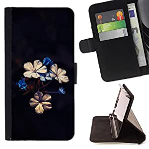 BullDog Case - FOR/Samsung Galaxy Note 4 IV / - / Beautiful Flowers /- Monedero de cuero de la PU Llevar cubierta de la caja con el ID Credit Card Slots Flip funda de cuer