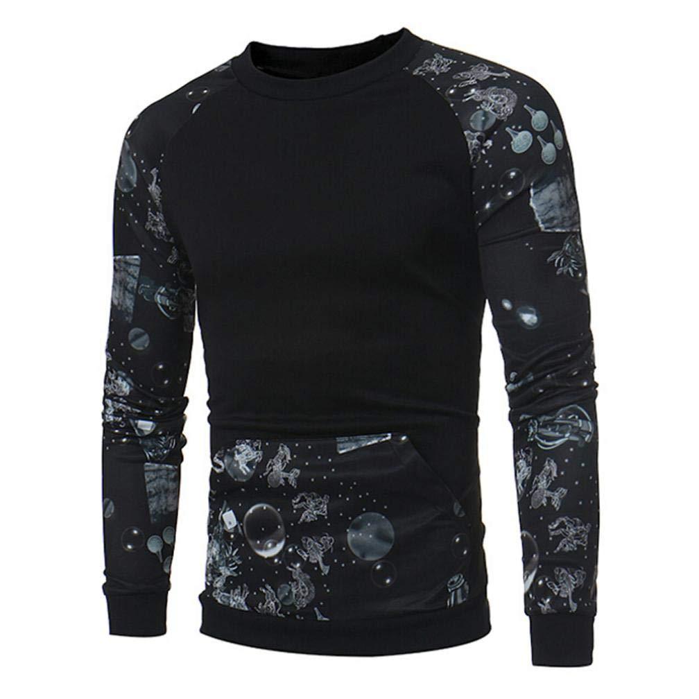 ZIYOU Herren Drucken Sweatshirt, Mode Männer Beiläufige Pullover/Basic Langarm O-Ausschnitt T shirt mit Tasche Top