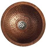 Egypt gift shops 10'' Small Compact Fire Burnt Copper Toilet Bathroom Lavatory Sink Bowl Flat Lip