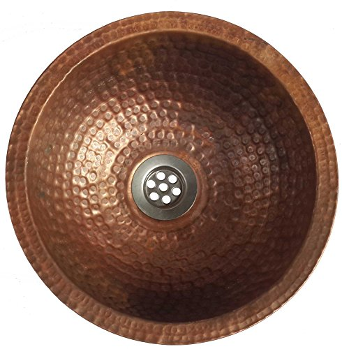 Egypt gift shops 10'' Small Compact Fire Burnt Copper Toilet Bathroom Lavatory Sink Bowl Flat Lip by Egypt gift shops