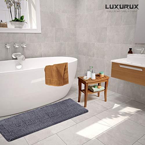LuxUrux Bathroom Rug Mat -Extra-Soft Plush Bath Shower Bathroom Rug,1'' Chenille Microfiber Material, Thickening Shaggy Tub Mat Carpet, Super Absorbent. Machine Wash & Dry (27''x 47 inches, Dark Gray) by LuxUrux (Image #4)