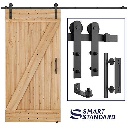 8 FT Heavy Duty Sturdy Sliding Barn Door Hardware Kit, 8ft Double Rail, Black, (Whole Set Includes 1x Pull Handle Set & 1x Floor Guide) Fit 42- 48 Wide Door Panel (I Shape Hanger)