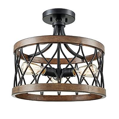DANXU Lighting 3 Light Drum Shade Semi Flush Mount, Burled Walnut Black and Wood Grain Ceiling Light