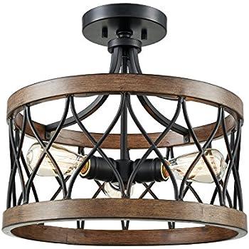 danxu lighting 3 light drum shade semi flush mount burled walnut