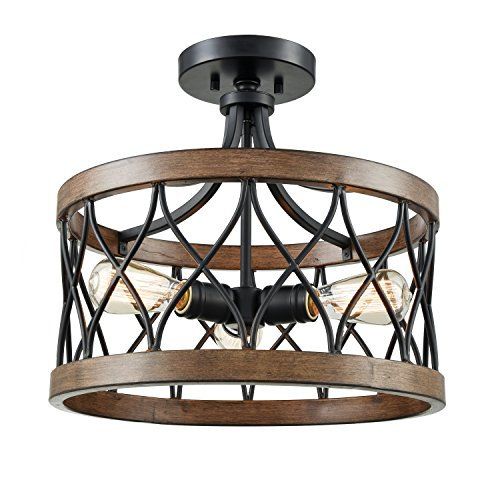 DANXU Lighting 3 Light Drum Shade Semi Flush Mount, Burled Walnut Black and Wood Grain Ceiling Light