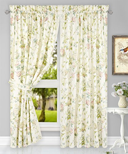 Simple Comfort Abigail Traditional Hydrangea Floral Print (Tailored Panel Pair with Tiebacks, 90 x 63, -