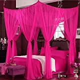 KQCNIFVNKLM Princess Ceiling Mosquito Nets,European Palace Netting Bedding Floor-type Bed Canopy Four Corner Netting Curtains-Rose Full-size