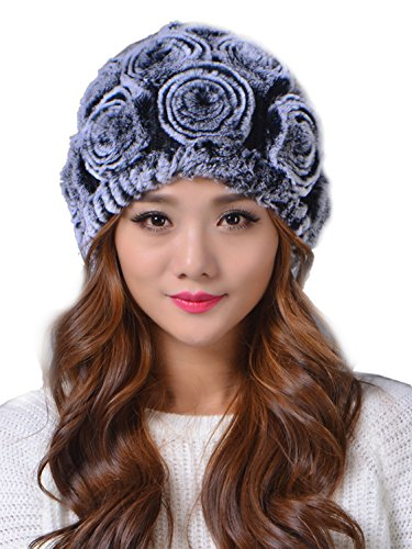 LITHER Genuine Rex Rabbit Fur Knitted Fur Beanie Hat Multi Color (color 5) (Rex Hat Rabbit)