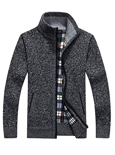 (GEEK LIGHTING Men's Full Zip Knitted Cardigan Sweaters Slim Fit Casual Jacket with Pockets (Dark Grey, US M/Label XL))